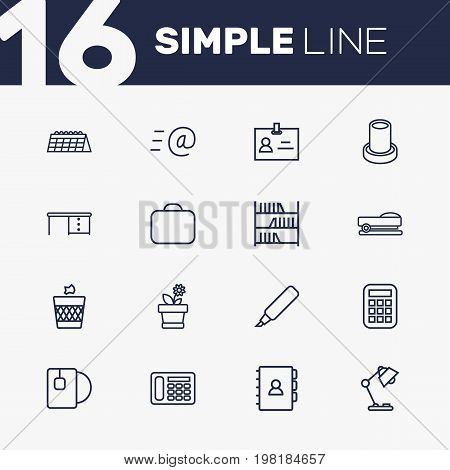 Collection Of Wastebasket, Email, Marker And Other Elements.  Set Of 16 Bureau Outline Icons Set.
