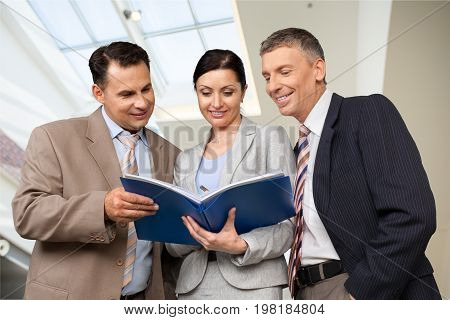Business men woman working work together businessmen