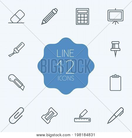 Collection Of Clipboard, Marker, Sharpener And Other Elements.  Set Of 12 Tools Outline Icons Set.