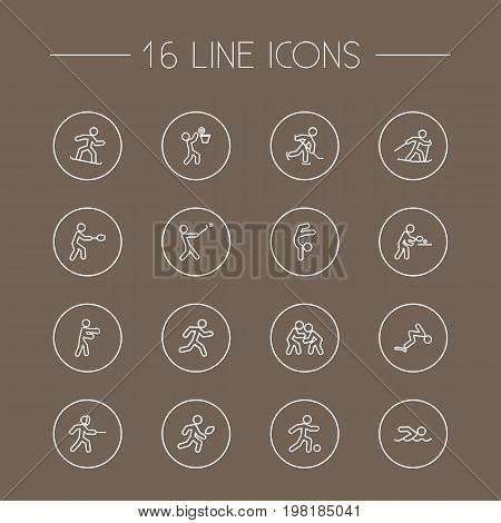Collection Of Basket, Run, Swordplay And Other Elements.  Set Of 16 Fitness Outline Icons Set.