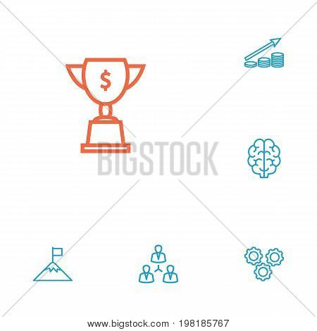 Collection Of Brain, Working Process, Teamwork And Other Elements.  Set Of 6 Business Outline Icons Set.