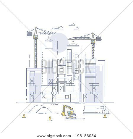 Construction site, building a house. Thin line flat design modern vector illustration concept. Thin line art style design for business startup.