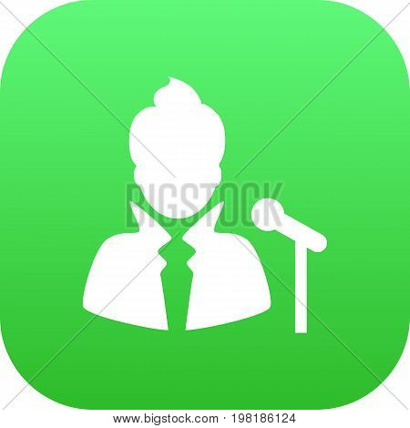 Vector Vocalist  Element In Trendy Style.  Isolated Singer Icon Symbol On Clean Background.