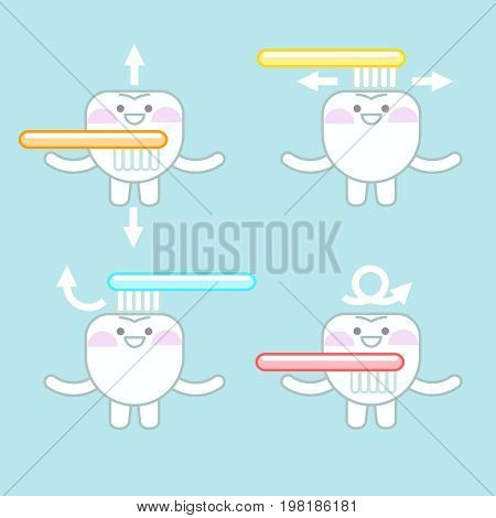teeth clean themselves. oral hygiene. children's illustration of half a mouth hygiene