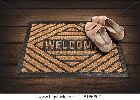 Door shoes mat welcome doormat isolated on white on white