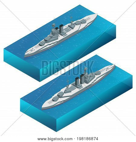 Isometric Military dreadnought warship vector illustration. Navy armored boat. For military concept, infographics, icon, web design. Military sea transport