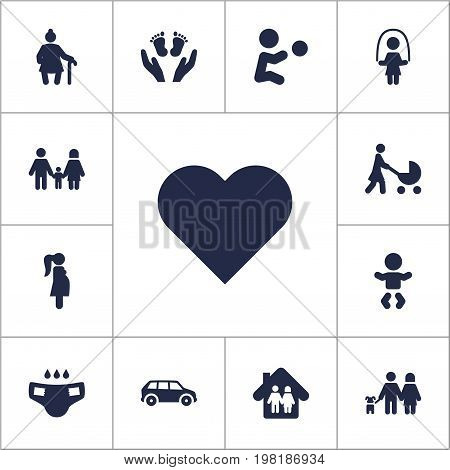 Collection Of Playing, Girl, Perambulator And Other Elements.  Set Of 13 People Icons Set.