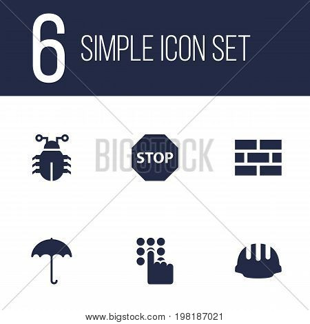 Collection Of Virus, Insurance, Hardhat And Other Elements.  Set Of 6 Safety Icons Set.