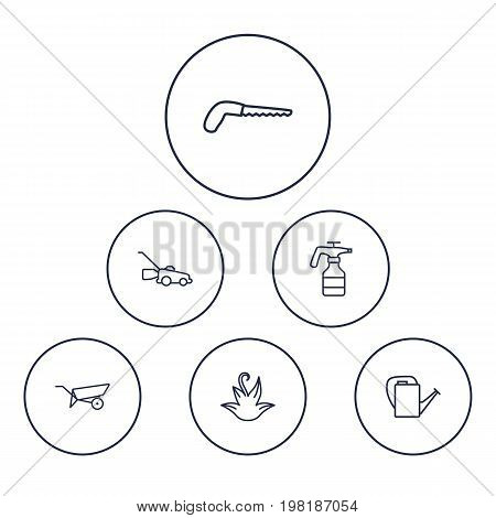 Collection Of Herb, Bailer, Barrow And Other Elements.  Set Of 6 Horticulture Outline Icons Set.