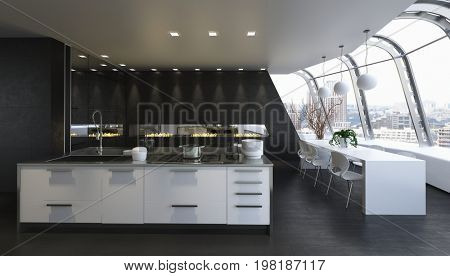 Spacious kitchen with dining room and large windows. 3d Rendering.