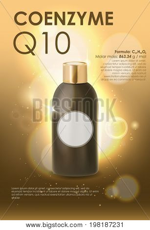 Coenzyme Q10. Supreme collagen oil drop essence. Cosmetic ads template, glass droplet bottle with essence oil isolated on brown background.