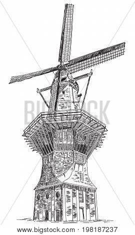 Windmill De Gooyer in Amsterdam (Netherlands Holland) isolated hand drawing vector illustration in black color on white background