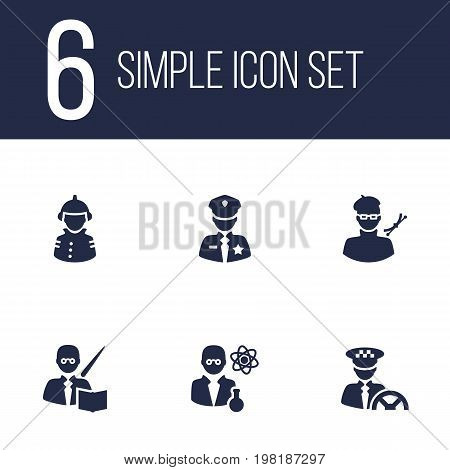 Collection Of Scholarly, Planner, Leaner And Other Elements.  Set Of 6 Position Icons Set.