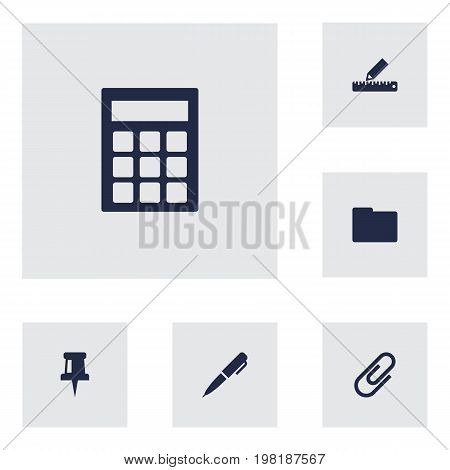 Collection Of Clip, Pushpin, Pencil And Other Elements.  Set Of 6 Stationery Icons Set.