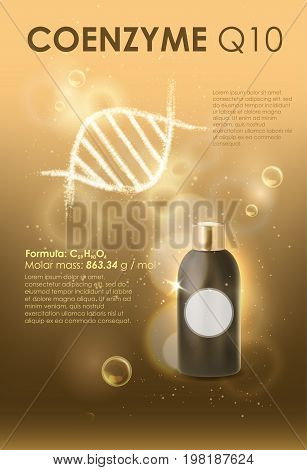Coenzyme Q10. Supreme collagen oil drop essence. Cosmetic ads template, glass droplet bottle with essence oil isolated on brown