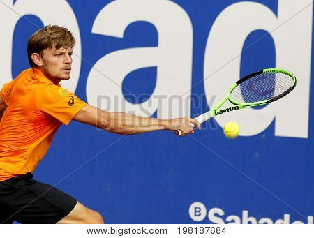 BARCELONA, SPAIN - APRIL, 27: Belgian tennis player David Goffin in action during a match of Barcelona tennis tournament Conde de Godo on April 27, 2017 in Barcelona Spain