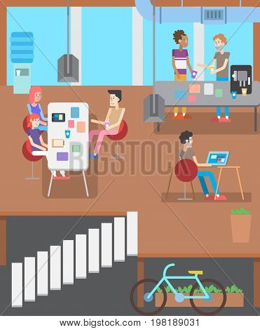 modern IT office. Business People Working Office Corporate Team Concept. Shared working environment. People talking and working at the computers in the open space office. Flat design style.