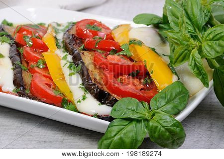 Baked eggplants with tomatoes yellow pepper and slices mozzarella
