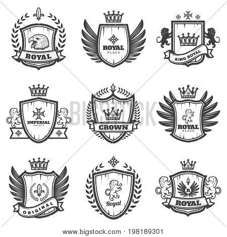Vintage monochrome heraldic emblems set with ornate coats of arms and medieval blazons isolated vector illustration