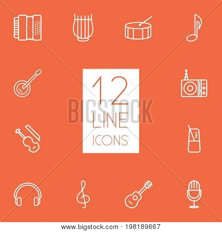 Collection Of Note, Percussion, Station And Other Elements.  Set Of 12 Melody Outline Icons Set.