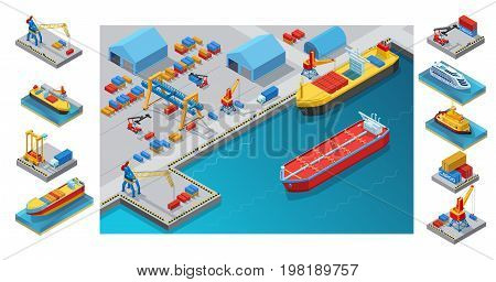 Isometric seaport concept with ships tanker barge vessel cruise liner cranes loaders warehouses containers isolated vector illustration