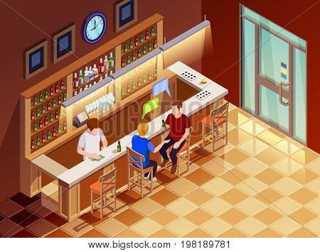 Two young men friends sitting at bar chatting drinking beer served by bartender isometric poster vector illustration