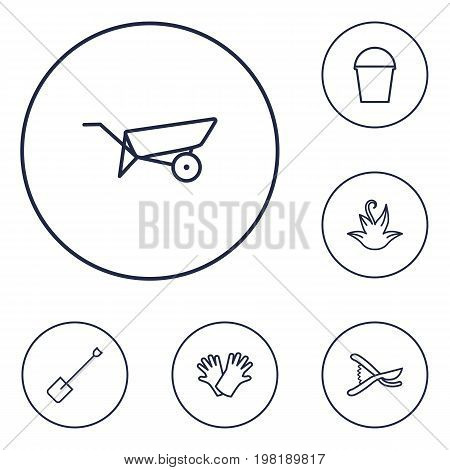 Collection Of Spade, Secateurs, Safer Of Hand Elements.  Set Of 6 Household Outline Icons Set.
