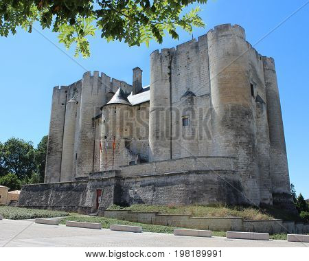 NIORT, FRANCE, JULY 16 2017: The imposing Donjon of Niort (Old Keep) or Château de Niort, a medieval castle in the French town of Niort in the Deux-Sèvres region, in the summer.