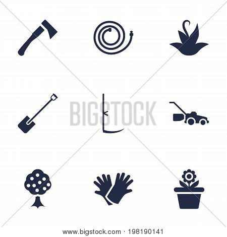 Collection Of Lawn Mower, Garden, Flowerpot And Other Elements.  Set Of 9 Horticulture Icons Set.