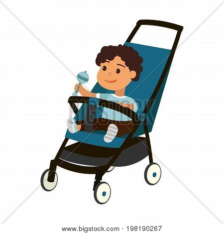 Vector baby boy on perambulator isolated on white background