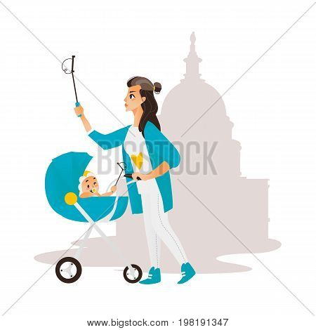 Vector woman with baby in stroller make selfie on the background of muslim mosque. Flat cartoon Isolated illustration on a white background. Female adult infant makes photo by selfie stick on vacation