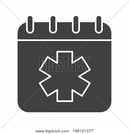 World Ambulance Day glyph icon. Silhouette symbol. Calendar page with star of life. Negative space. Vector isolated illustration