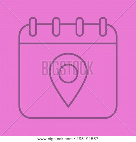 Calendar page with map pinpoint color linear icon. Thin line outline symbols on color background. Vector illustration