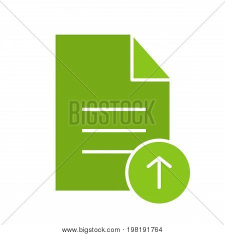 Upload document glyph color icon. Text file with upload arrow. Silhouette symbol on white background. Negative space. Vector illustration