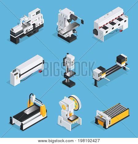Isometric set of metalworking machines with control panel conveyor computer technologies on blue background isolated vector illustration