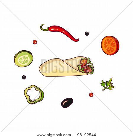 Vector flying ingredients shawarma set flat isolated illustration on a white background. Vegetables for pizza, sandwich, roll fastfood preparation. Chilli, tomato pepper olive cucumber cartoon