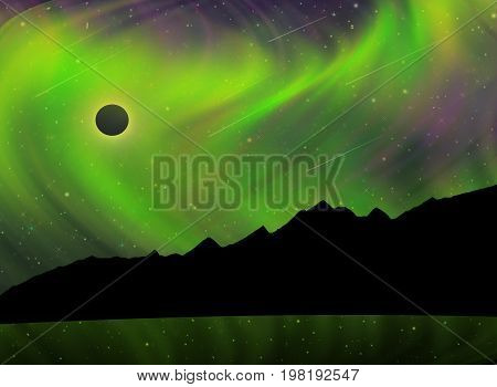 Artist's rendition of Aurora Borealis during a Solar Eclipse and Meteor Shower