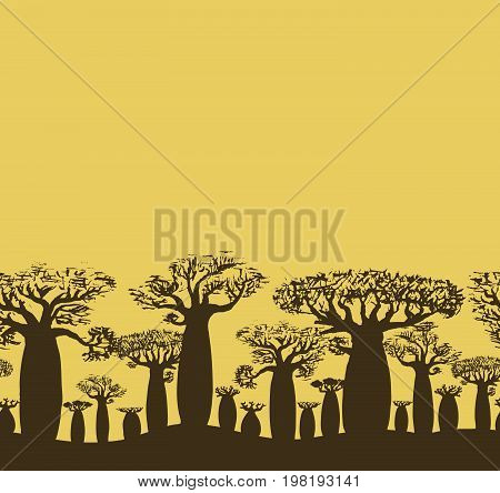 Vector decorative seamless border of sketch hand drawing baobab tree