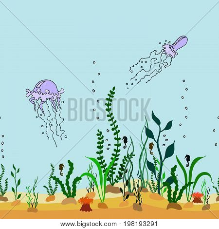 Vector sealess decorative border of cartoon seabed with seaweeds, jellyfishes and bubbles