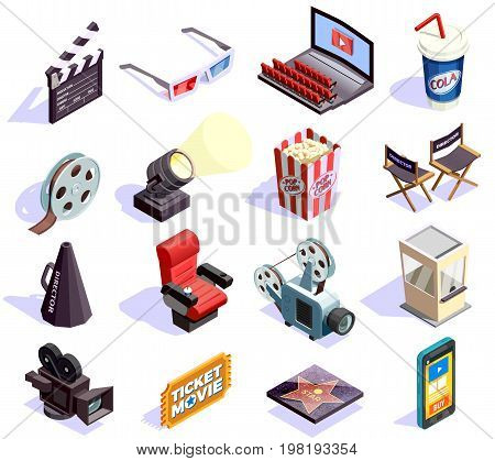 Cinema hall and movie making isometric icons set isolated on white background 3d vector illustration