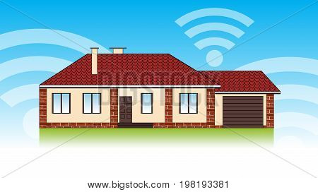 Concept of smart house technology system with centralized control. Security and automated system. Vector illustration.
