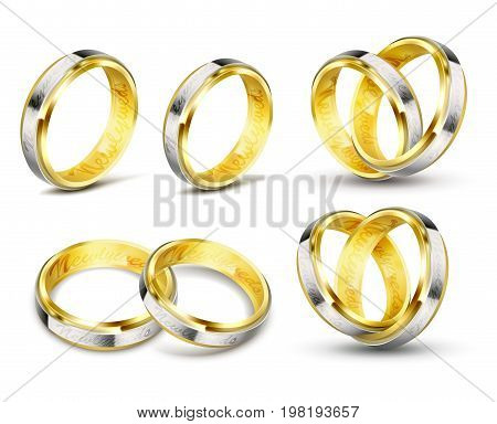 Set of realistic vector illustrations of gold wedding rings with elements of silver, platinum and engraving with shadow isolated on white. Print, template, design element