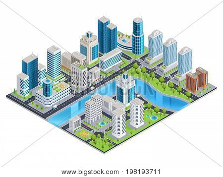 Isometric design concept with statue of themis other symbols of law and justice and money 3d vector illustration