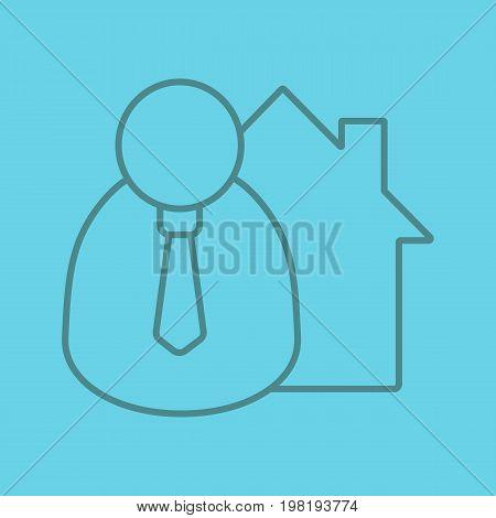 Broker, realtor color linear icon. Thin line outline symbols on color background. Real estate market agent. Vector illustration
