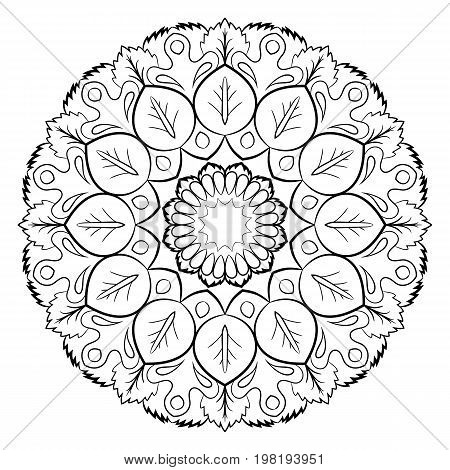 Mandala for color book. A pattern in the circle. Illustration for the album. Pattern for printing on fabrics. Figure for relaxation and meditation.