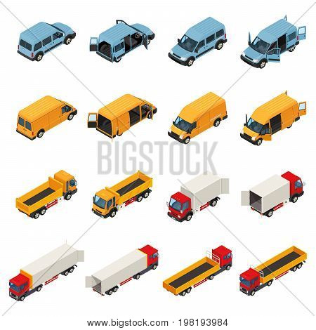 Truck isometric set of isolated cargo transport images of vehicles with opened doors of load box vector illustration