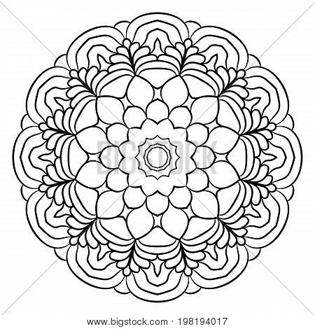 Monochrome mandala for color book. A pattern in the circle. Illustration for the album. Pattern for printing on fabrics. Figure for meditation.