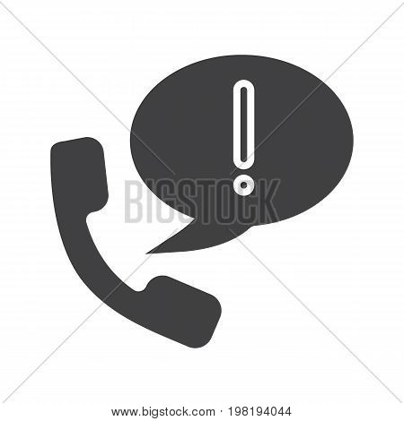 Important announcement by phone glyph icon. Silhouette symbol. Handset with exclamation mark inside speech bubble. Negative space. Vector isolated illustration