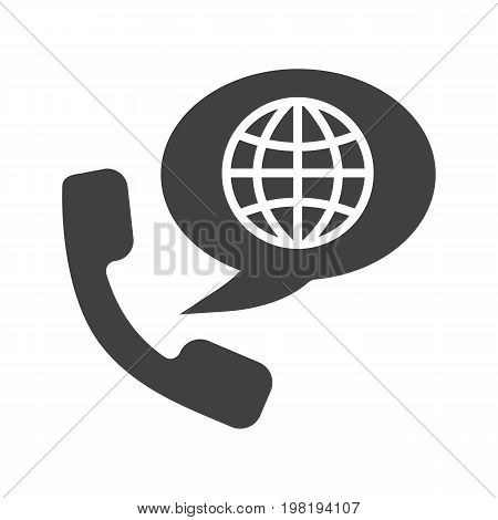International phone call glyph icon. Silhouette symbol. Handset with globe model inside speech bubble. Negative space. Vector isolated illustration
