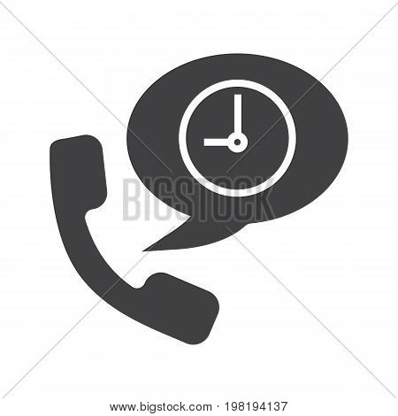 Phone talk duration glyph icon. Silhouette symbol. Handset with clock inside speech bubble. Negative space. Vector isolated illustration